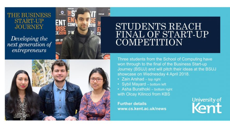 Students reach final of start-up competition at the University of Kent